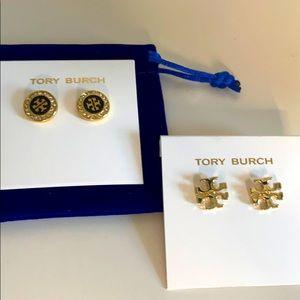 Tory Burch black round/ Kira stud earring